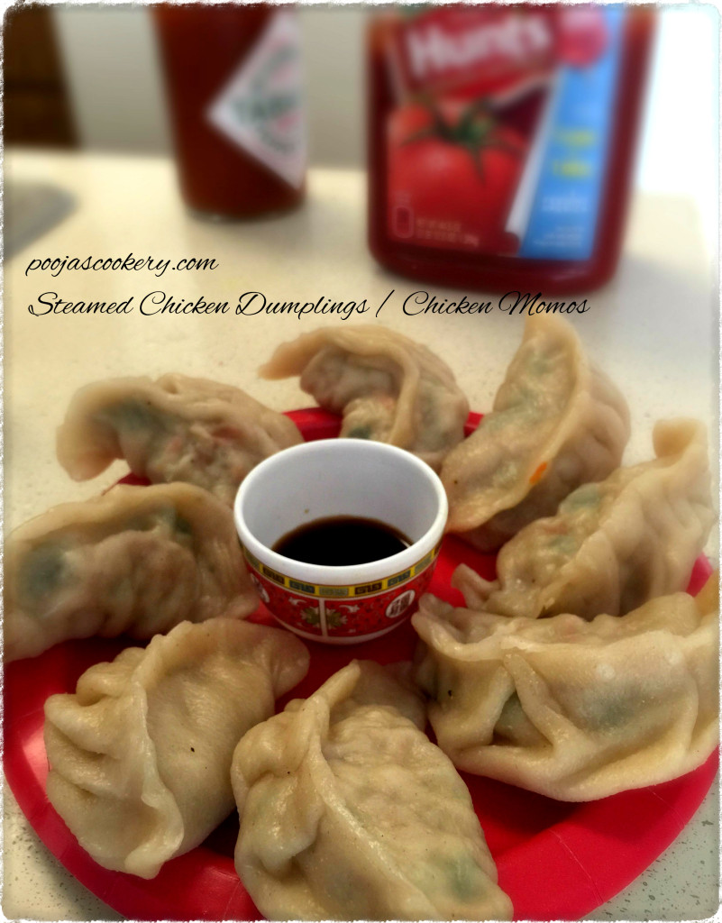 Steamed Chicken Dumplings / Chicken Momos | poojascookery.com