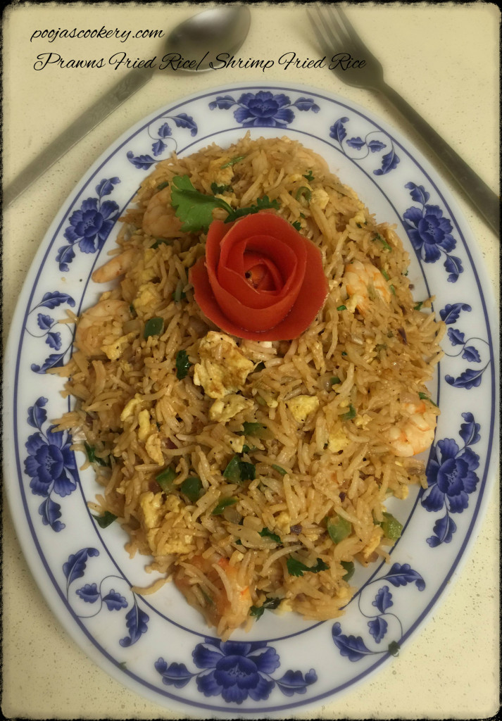 Prawns Fried Rice / Shrimp Fried Rice |poojascookery.com
