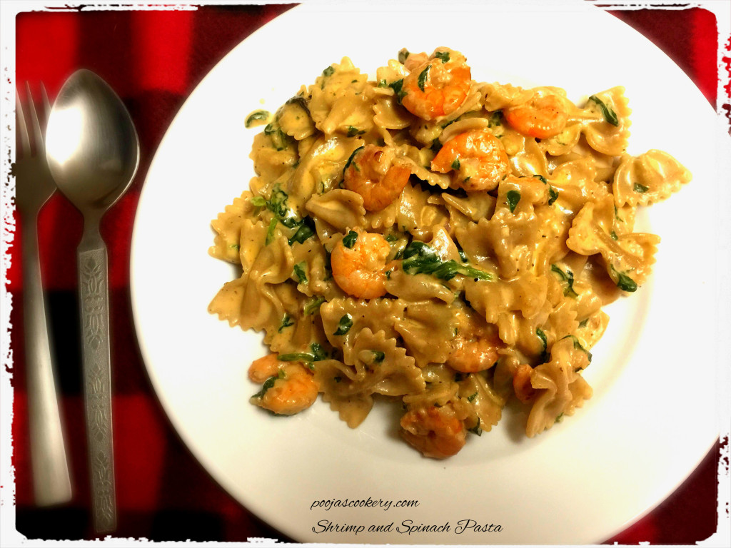 Shrimp and Spinach Pasta | poojascookery.com