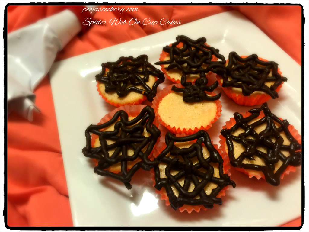 Spider Web On Cup Cakes | poojascookery.com