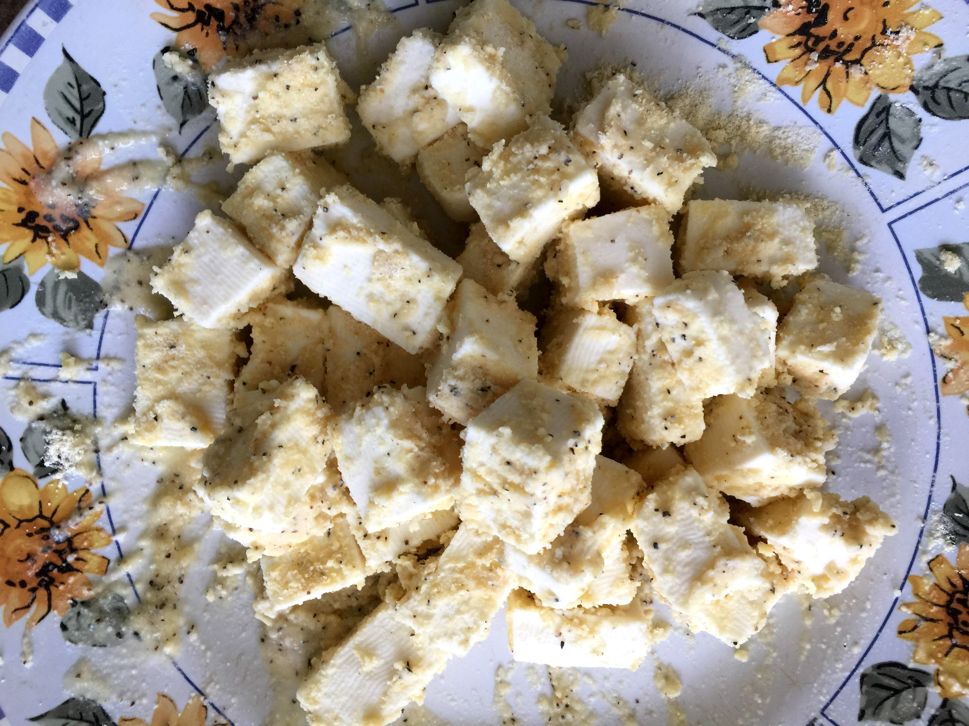 Paneer coated with cornflour paste