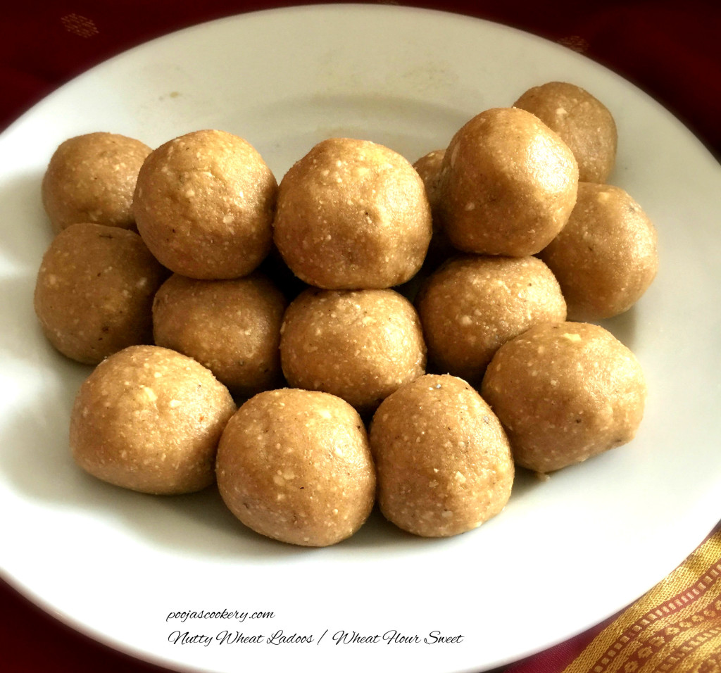 Nutty Wheat Ladoos / Wheat Flour Sweet | poojascookery.com
