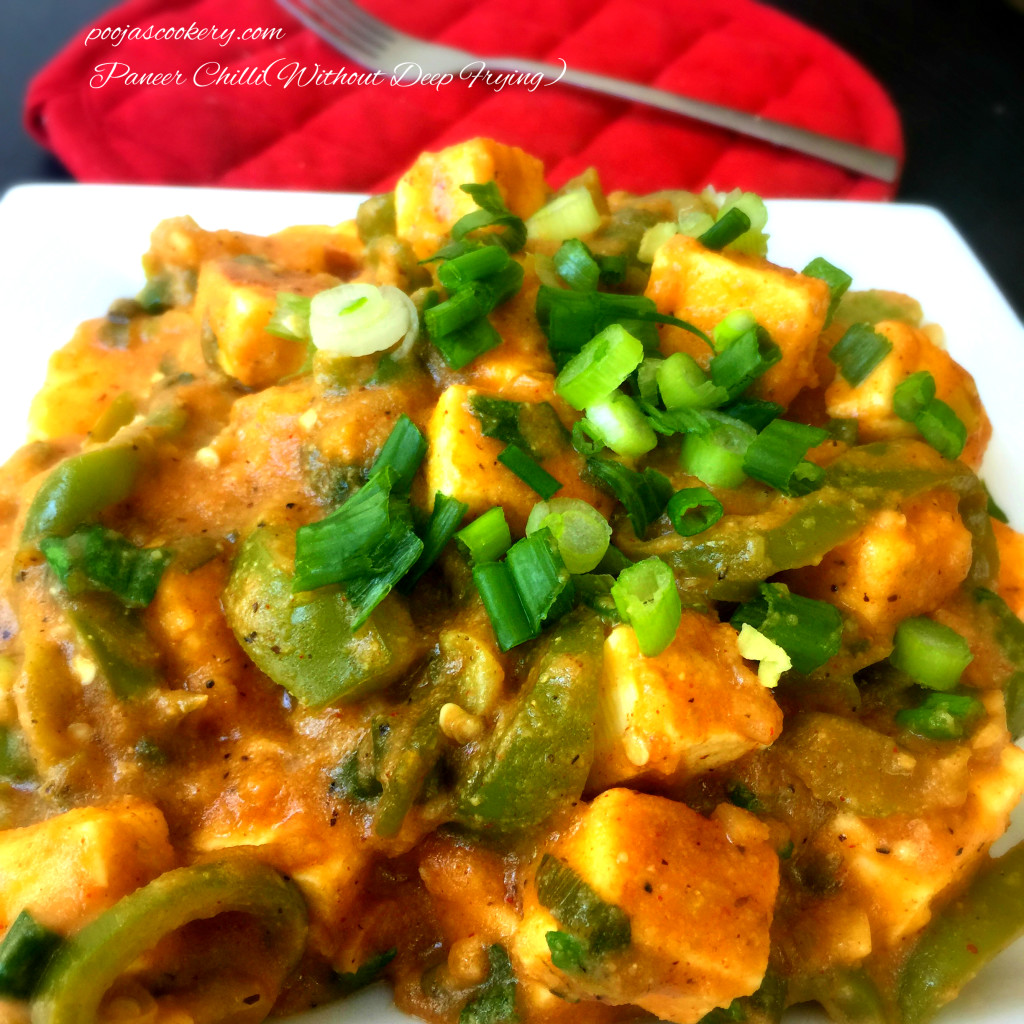 Paneer Chilli(Without Deep Frying) | poojascookery.com