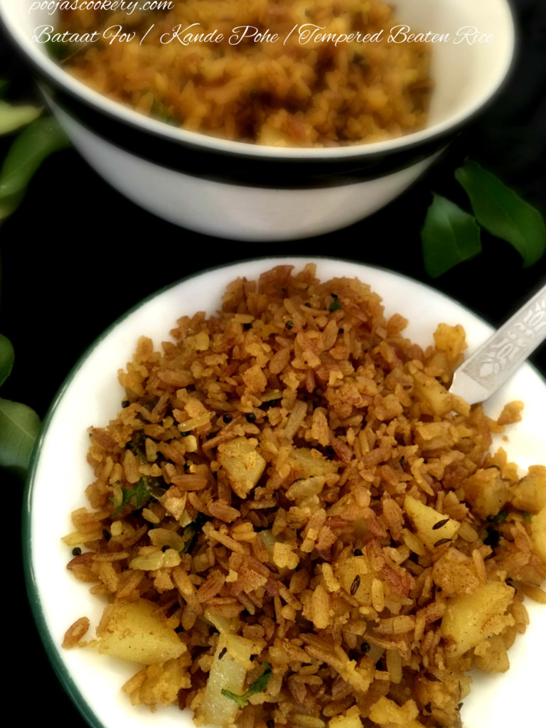 Bataat Fov / Kande Pohe /Tempered Beaten Rice | poojascookery.com
