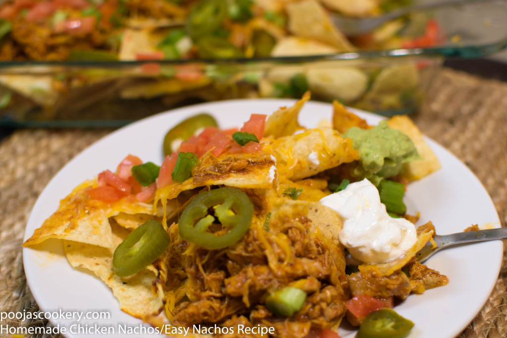 Homemade Chicken Nachos/Easy Nachos Recipe | poojascookery.com