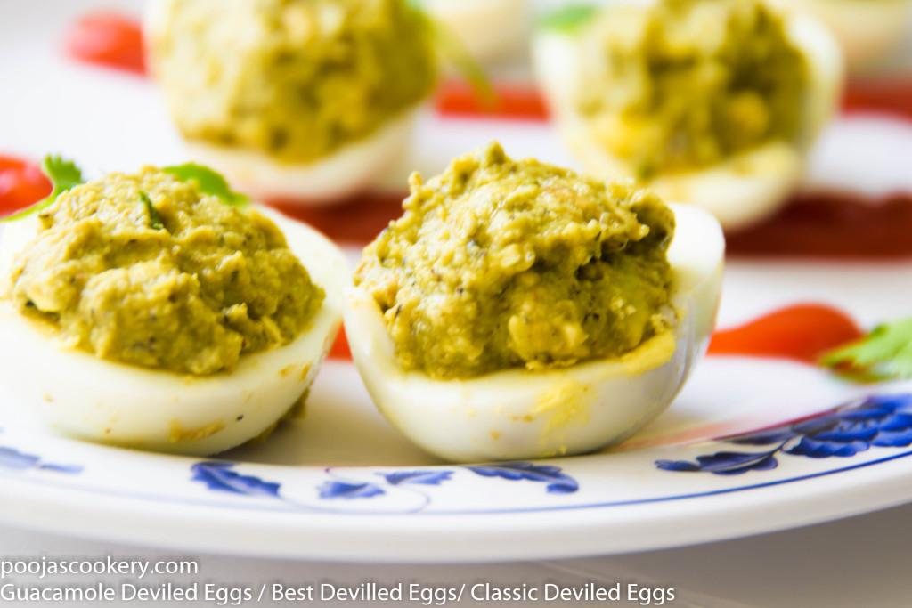 Guacamole Deviled Eggs / Best Devilled Eggs/ Classic Deviled Eggs |poojascookery.com