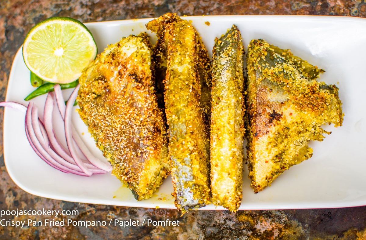 Crispy pan fried pompano paplet pomfret recipe pooja for Pompano fish recipe