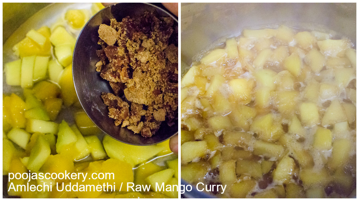 Raw mango boiled using water and jaggery| poojascookery.com