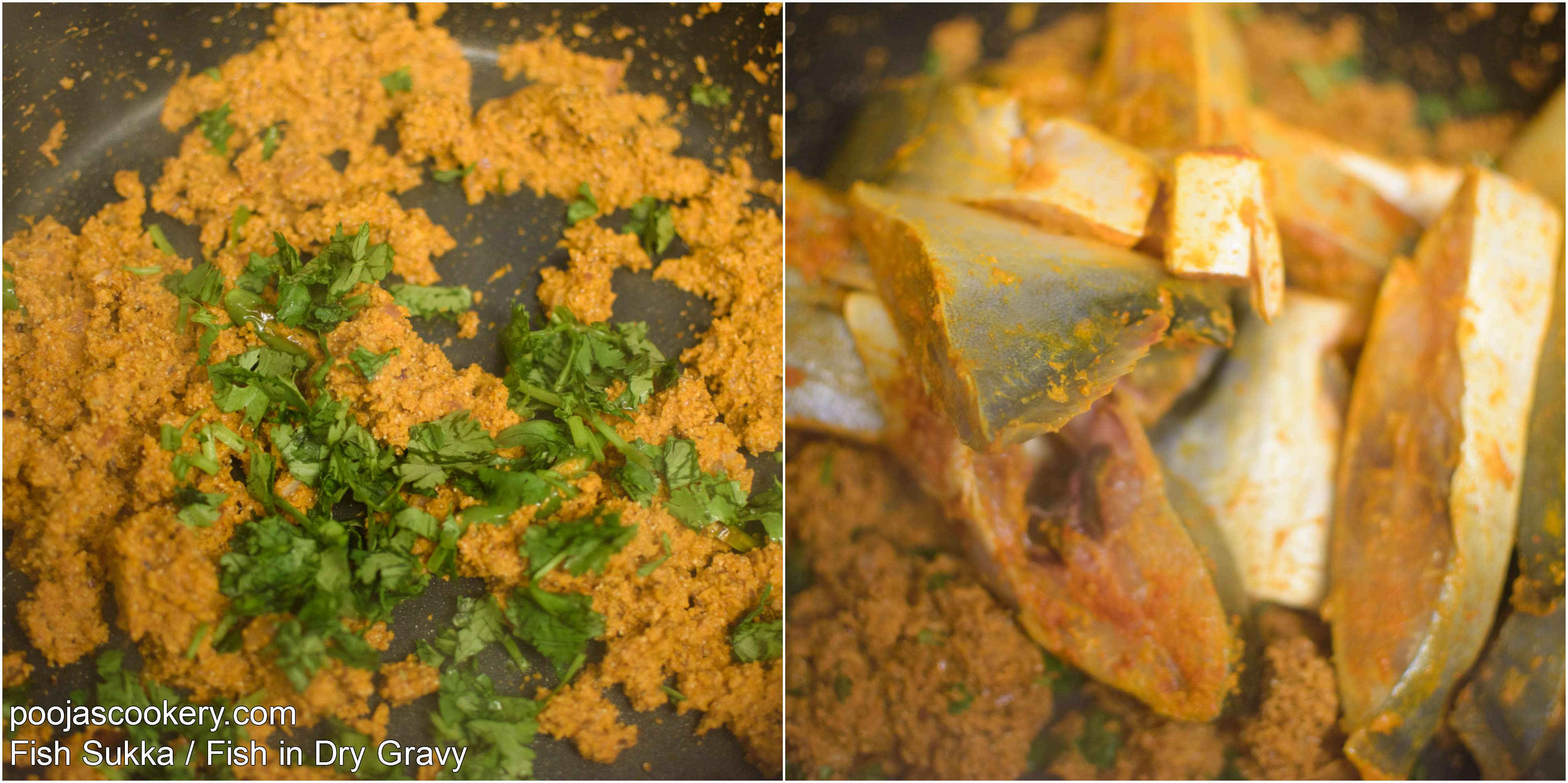Coriander leaves and fish added to sauted paste| poojascookery.com