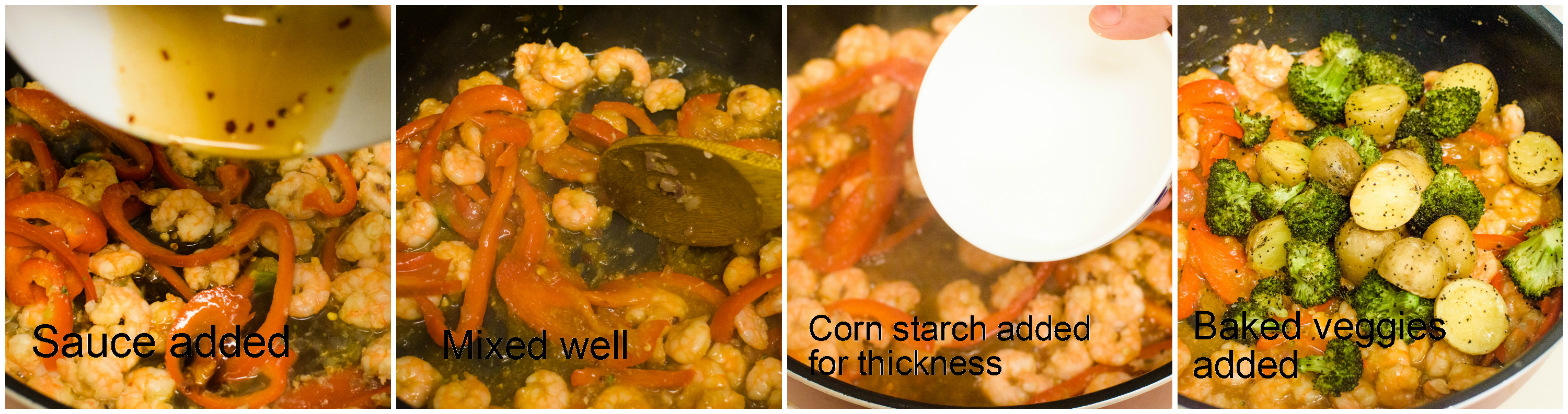 Sauce+cornstarch added and then veggies are added| poojascookery.com