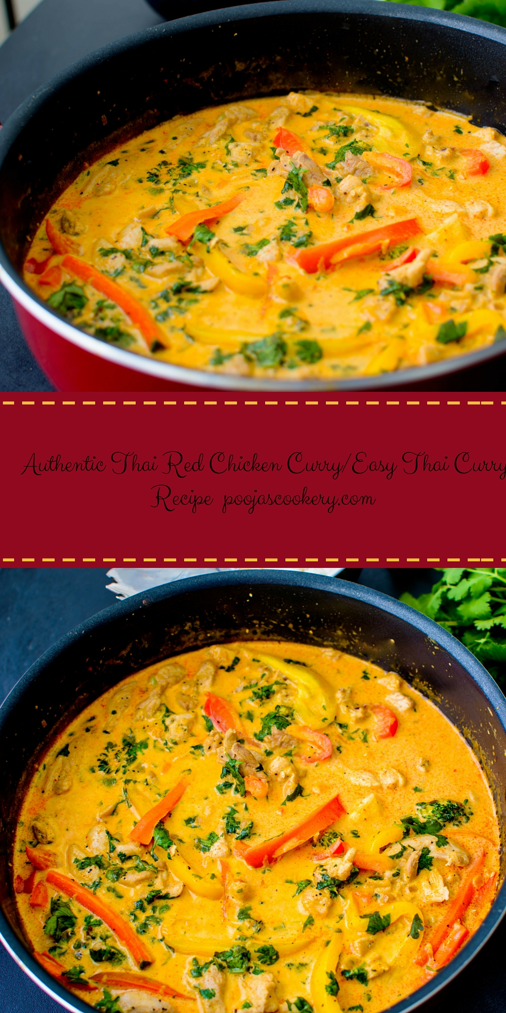 thai red chicken curry / easy thai curry recipe  pooja's