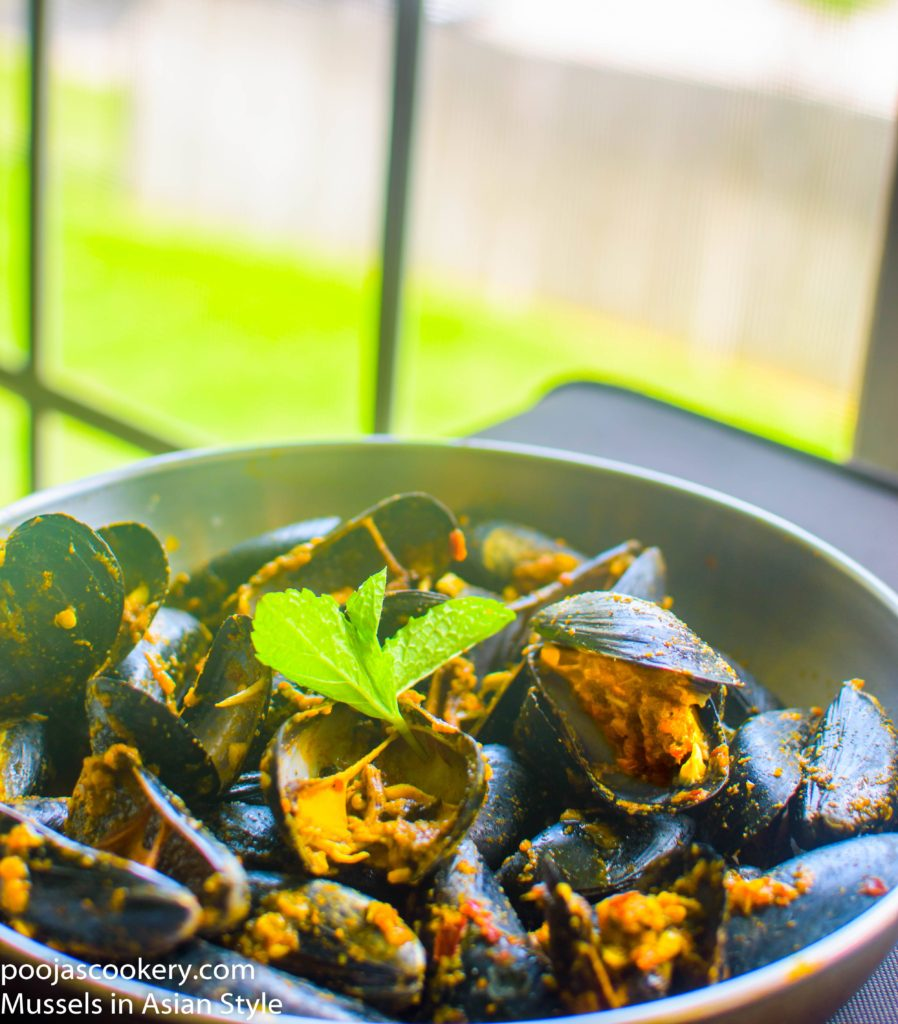 Mussels in Asian Style | poojascookery.com