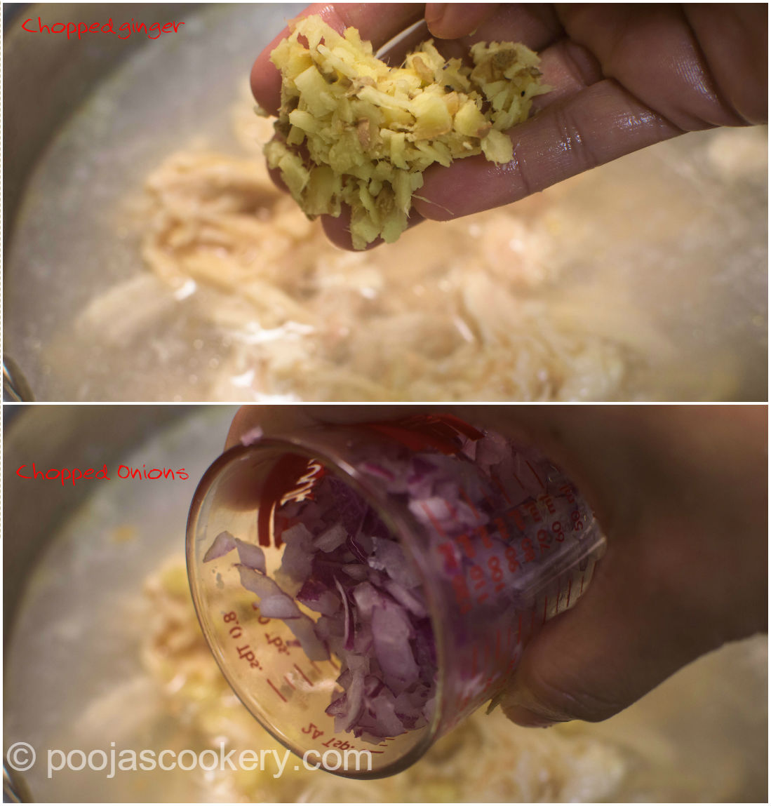 Chopped ginger and chopped onions| poojascookery.com