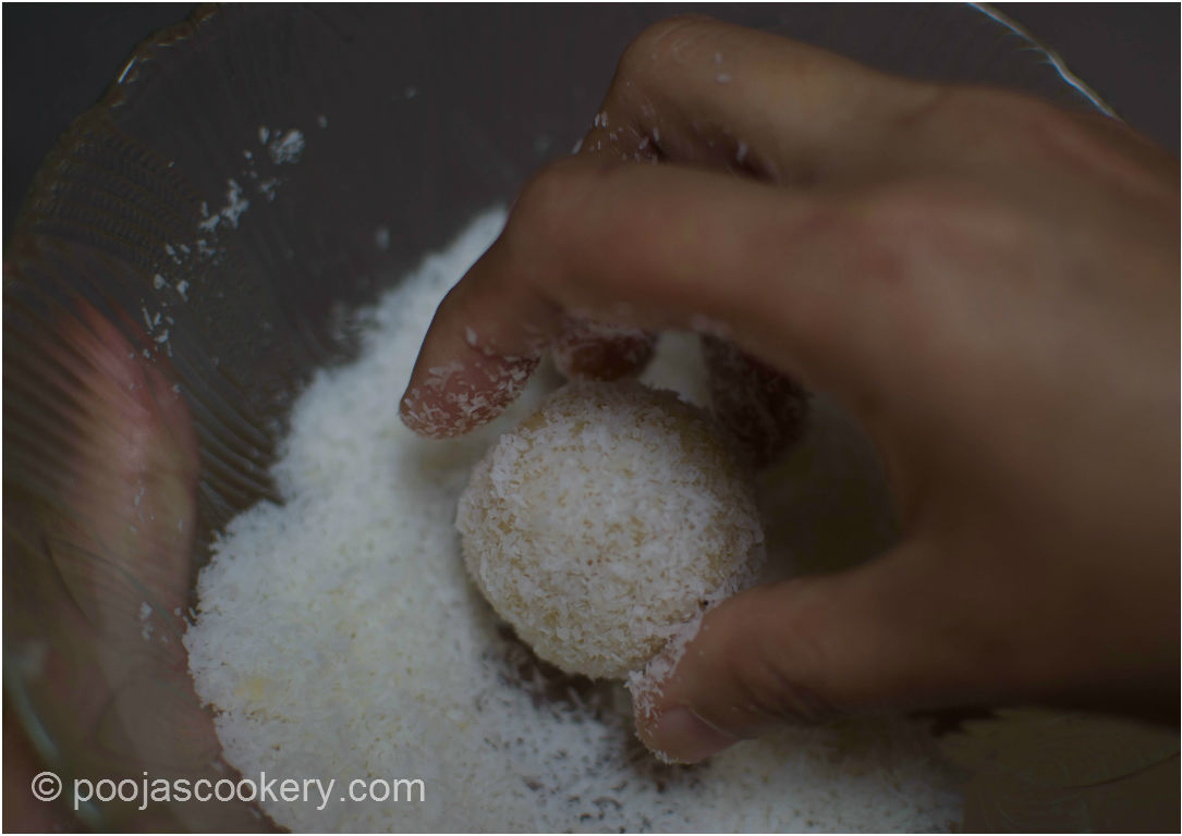 Roll in dry coconut| poojascookery.com