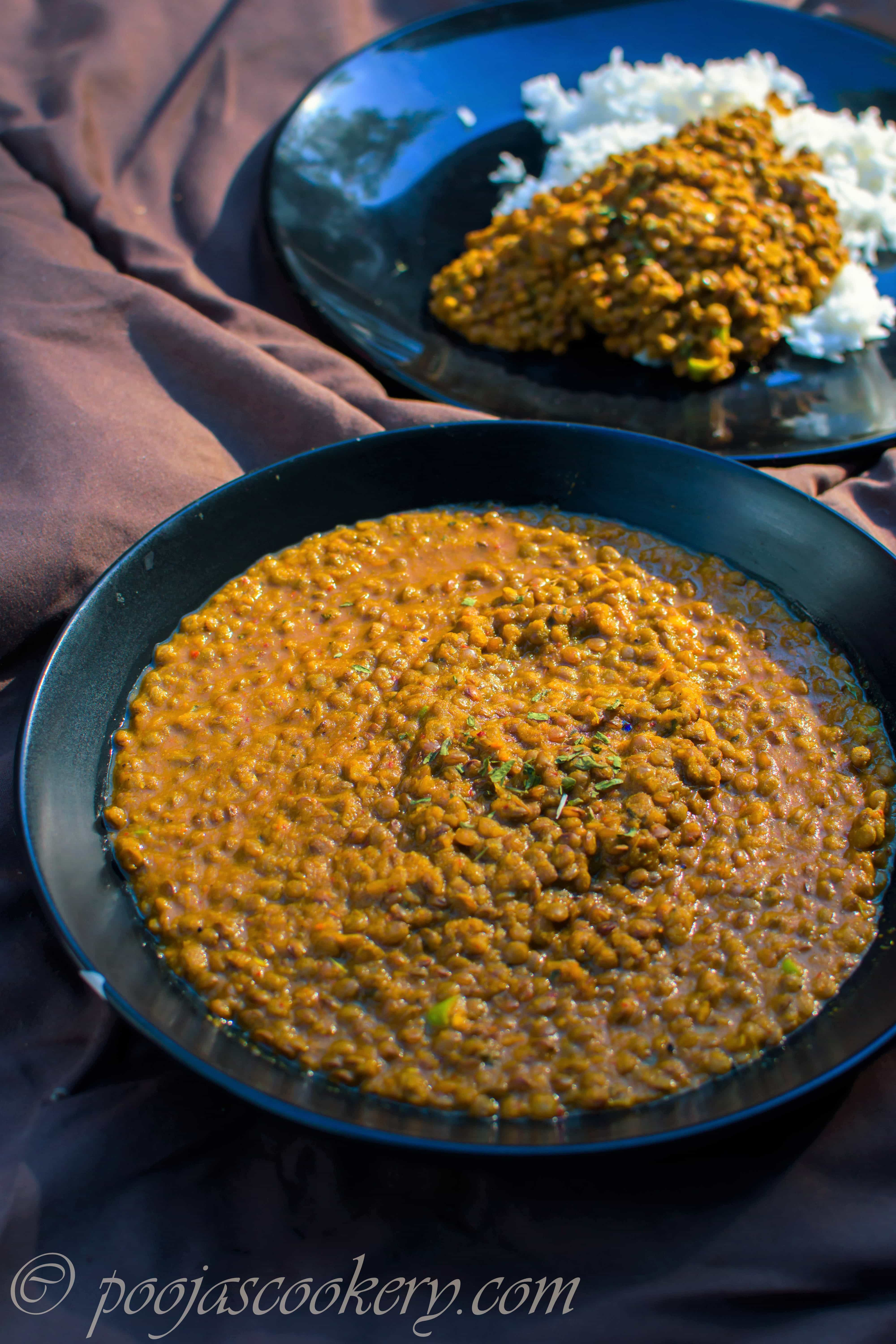 Red Lentil Curry Without Coconut|poojascookery.com