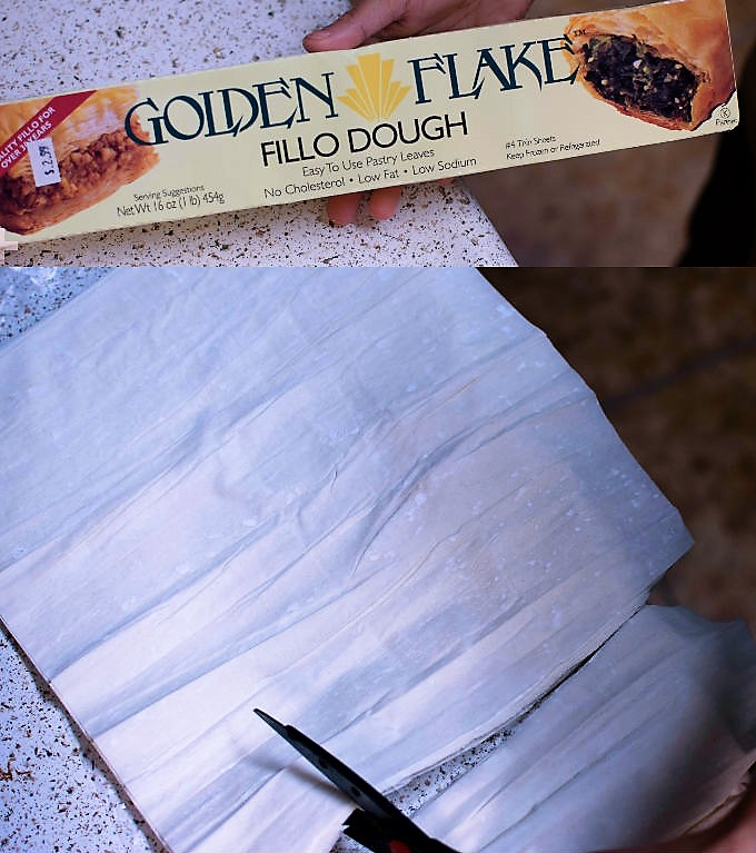 Trim the phyllo sheets