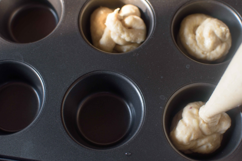 Eggless Apple Cupcakes : Fill Cupcake Pan