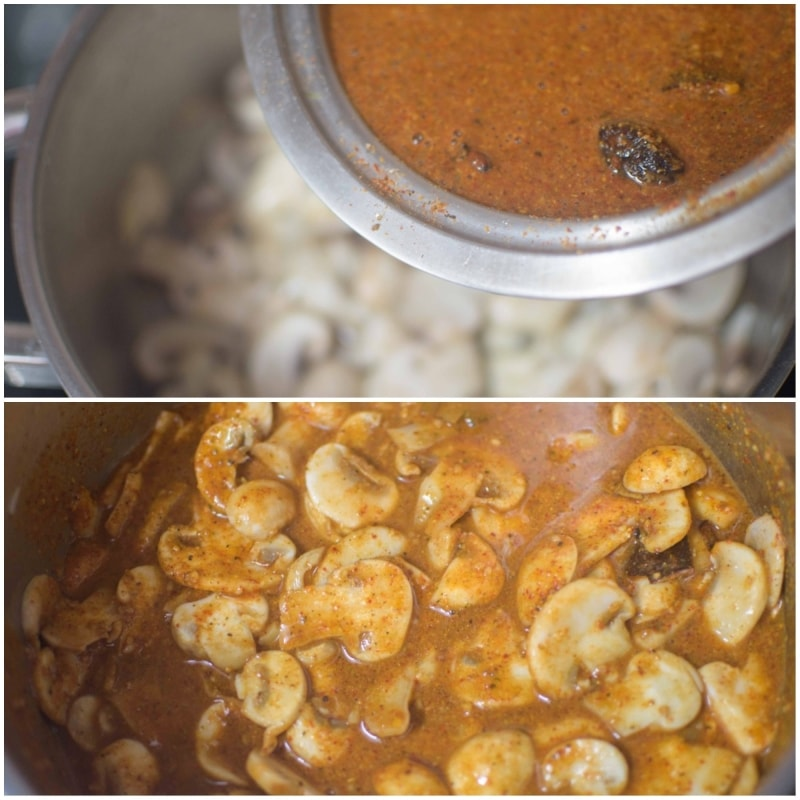 Instant Mushroom Masala / Mushroom ki sabzi: Gravy added to mushrooms