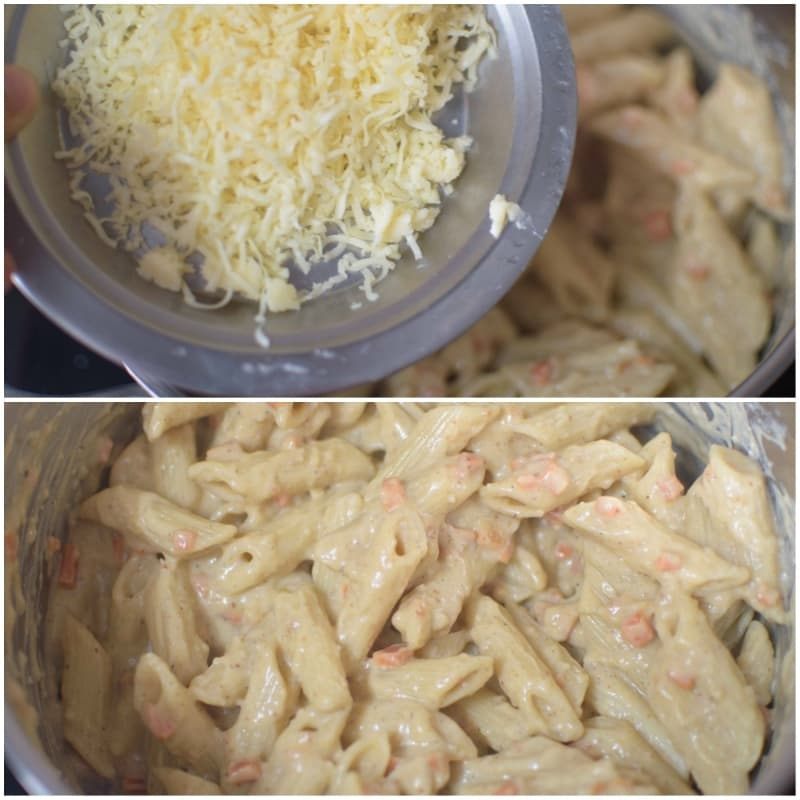 Quick Creamy White Pasta / Indian Style Pasta:Cheese added